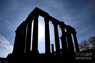 Roman Ruins Photograph - Roman Temple Silhouette by Jose Elias - Sofia Pereira
