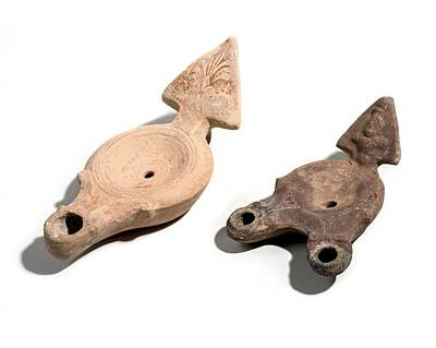 Roman Terracotta Oil Lamps Print by Science Photo Library