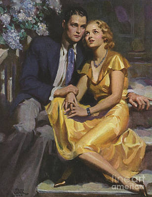 Womens Drawing - Romance  1933 1930s Uk Womens Story by The Advertising Archives