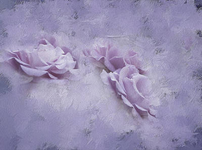 Trio Photograph - Romance A Trio Of Purple Roses by Diane Schuster