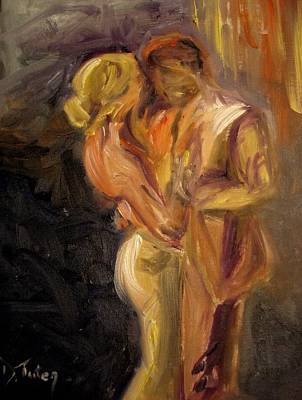 Man And Woman Painting - Romance by Donna Tuten
