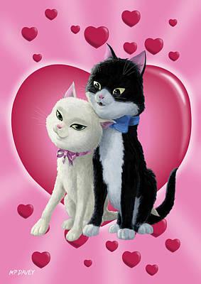 Cuddly Digital Art - Romantic Cartoon Cats On Valentine Heart  by Martin Davey