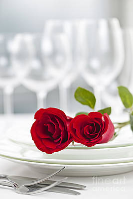 Rose Photograph - Romantic Dinner Setting by Elena Elisseeva