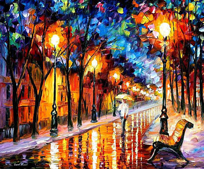 Romantic Dream - Palette Knife Oil Painting On Canvas By Leonid Afremov Original by Leonid Afremov