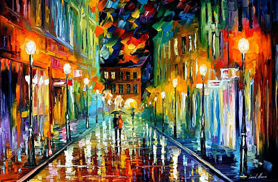 Romantic Evening - Palette Knife Oil Painting On Canvas By Leonid Afremov Original by Leonid Afremov