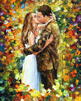 Romantic Kiss - Palette Knife Oil Painting On Canvas By Leonid Afremov Original by Leonid Afremov