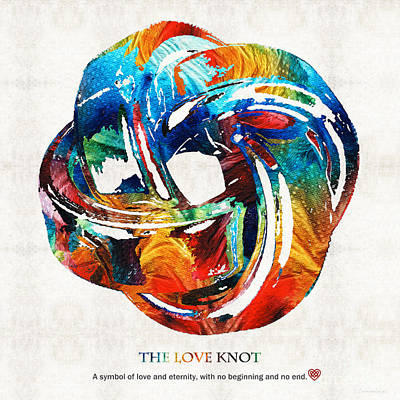 Celtic Art Painting - Romantic Love Art - The Love Knot - By Sharon Cummings by Sharon Cummings