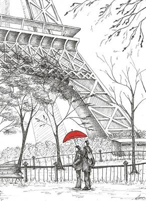 Eiffel Tower Drawing - Romantic Paris by Anna Giller