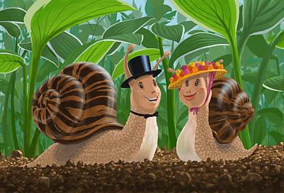 M P Davey Digital Art - Romantic Snails On A Date by Martin Davey