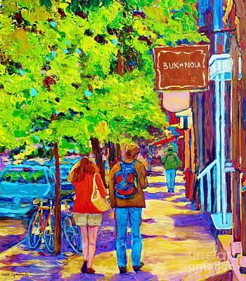 Romantic Stroll Along Rue Laurier Montreal Street Scenes Paintings Carole Spandau Print by Carole Spandau