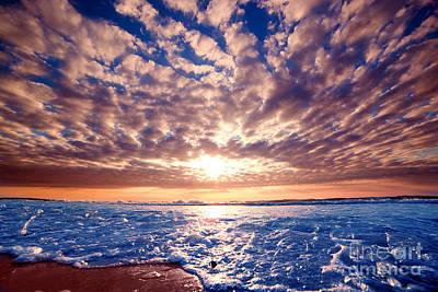 Dawn Photograph - Romantic Sunset Over Ocean by Michal Bednarek