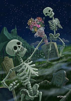 Romantic Valentine Skeletons In Graveyard Print by Martin Davey