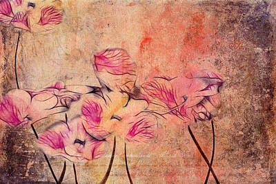 Pink Flowers Digital Art - Romantiquite - 44bt22 by Variance Collections