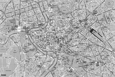 Rome Detailed Map Black And White Print by Dan Sproul