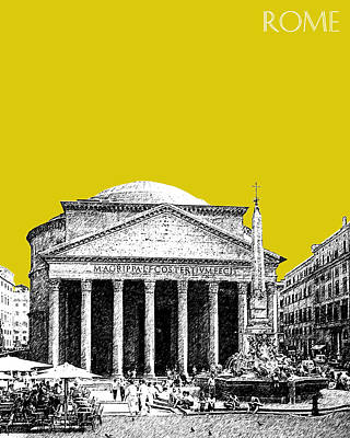 Pantheon Digital Art - Rome Skyline The Pantheon - Mustard by DB Artist
