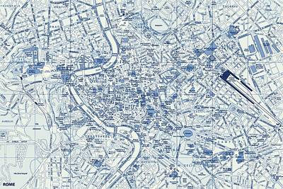 Rome Street Map Print by Dan Sproul