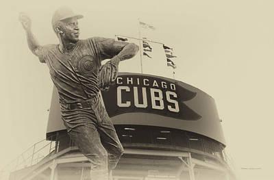 Wrigley Field Digital Art - Ron Santo Chicago Cub Statue In Heirloom Finish by Thomas Woolworth