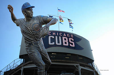 Wrigley Field Digital Art - Ron Santo Chicago Cubs Statue by Thomas Woolworth