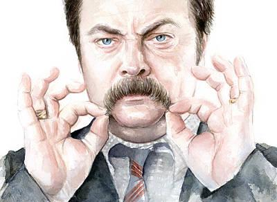 Ron Swanson Mustache Portrait Print by Olga Shvartsur