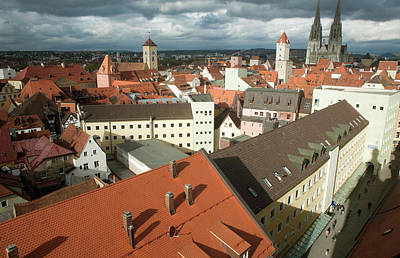Roof Top View Of Old Town Regensburg Print by Dave Bartruff