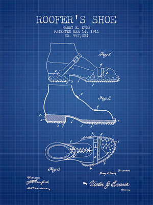 Shoe Digital Art - Roofers Shoe Patent From 1911 - Blueprint by Aged Pixel