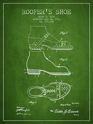 Shoe Digital Art - Roofers Shoe Patent From 1911 - Green by Aged Pixel