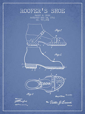 Old Boot Digital Art - Roofers Shoe Patent From 1911 - Light Blue by Aged Pixel