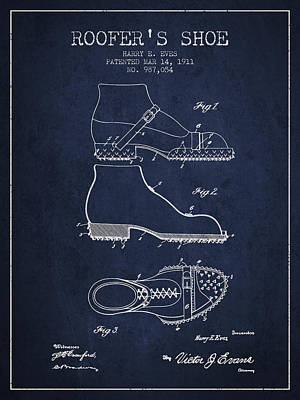 Shoe Digital Art - Roofers Shoe Patent From 1911 - Navy Blue by Aged Pixel