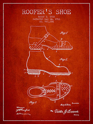 Shoe Digital Art - Roofers Shoe Patent From 1911 - Red by Aged Pixel