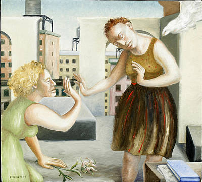 Women Together Painting - Rooftop Annunciation One by Caroline Jennings