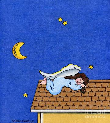 Seraphim Angel Drawing - Rooftop Sleeper by Sarah Batalka
