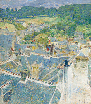 Rooftops Painting - Rooftops Brittany by Celestial Images