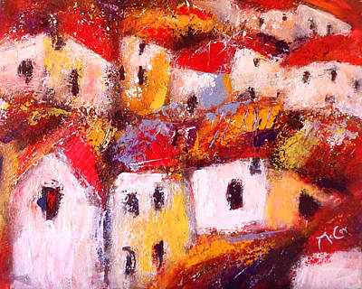 South Of France Painting - Rooftops by K McCoy
