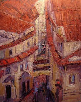 Czech Republic Painting - Rooftops Of Melantrichova Lane In Prague by R W Goetting