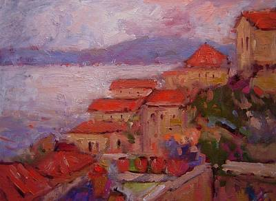 Rooftops Painting - Rooftops Of Monemvasia by R W Goetting