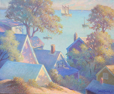 Sand Dunes Painting - Rooftops Of Provincetown Harbor by Ernest Principato