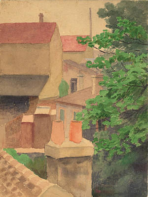Thomas Pollock Anshutz Painting - Rooftops St. Cloud by Thomas Pollock Anshutz