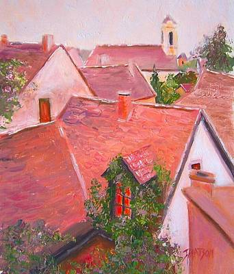 Old Village Painting - Rooftops Trogir Croatia by Jan Matson