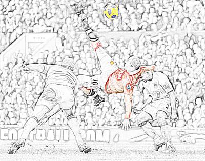 Wayne Rooney Digital Art - Rooney Strike by Ennis Alhashimi