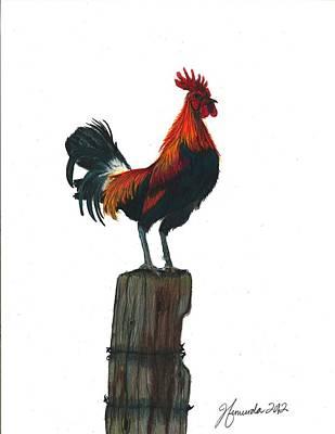 Yellow Beak Drawing - Rooster Beyond The Morning by J Ferwerda