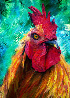 Rooster Mixed Media - Rooster Colorful Expressions by Georgiana Romanovna