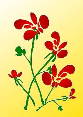 Rooster Flowers Print by Anastasiya Malakhova
