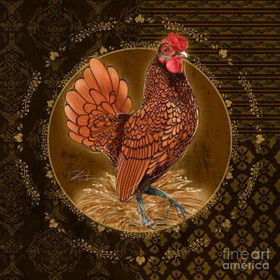 Rural Scenes Mixed Media - Rooster Golden by Shari Warren