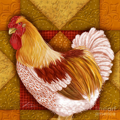 Rural Scenes Mixed Media - Rooster On A Quilt I by Shari Warren