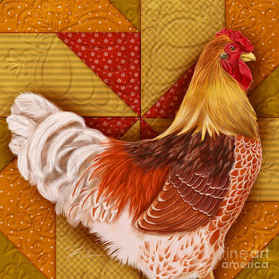 Rural Scenes Mixed Media - Rooster On A Quilt II by Shari Warren