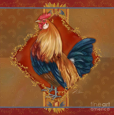 Rural Scenes Mixed Media - Rooster On Red And Gold I by Shari Warren