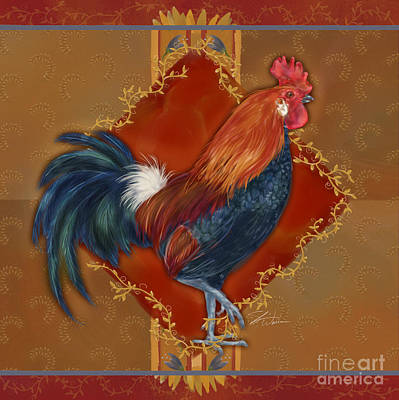 Rural Scenes Mixed Media - Rooster On Red And Gold II by Shari Warren