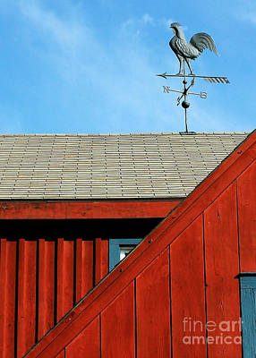 Red Roof Photograph - Rooster Weathervane by Sabrina L Ryan