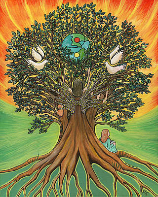 Tree Roots Painting - Rooted In The Tree Of Humaity by Janis  Cornish