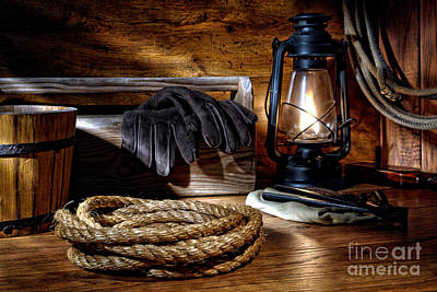Rope In The Ranch Barn Print by Olivier Le Queinec